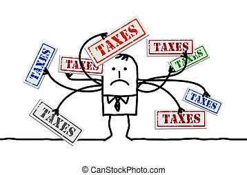 muchos, caricatura, impuestos, hombre