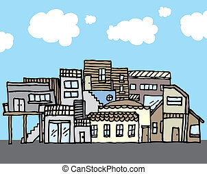 muchos, casas, /, apretado, comunidad