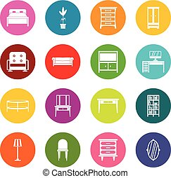 muchos colores, conjunto, muebles, iconos