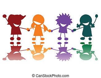 muchos colores, niños, feliz