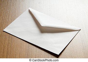muchos, concepto, correo, sobres, tabla