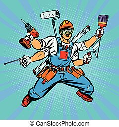 muchos, constructor, trabajador, reparador, mano