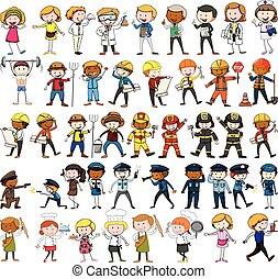 muchos, diferente, caracteres, ocupaciones