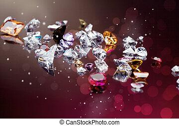 muchos, diferente, conjunto, piedra preciosa