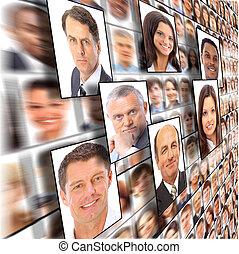 muchos, el, aislado, retratos, de, gente