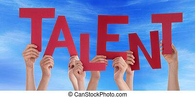 muchos, gente, manos, tenencia, rojo, palabra, talento, cielo azul