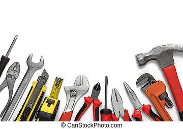 muchos, herramientas, blanco, plano de fondo
