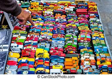 muchos, juguete, colorido, coches