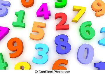 muchos, números, plástico