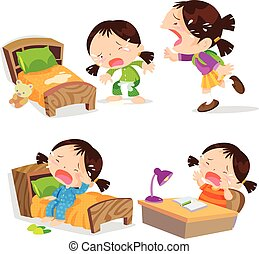 muchos, niña, llanto, caricatura, lindo, action.