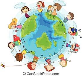 Muchos, niños, alrededor, mundo
