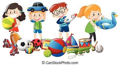 muchos, niños, jugar juguetes