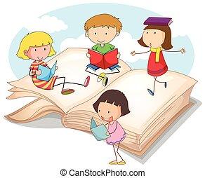 muchos, niños, lectura, libros