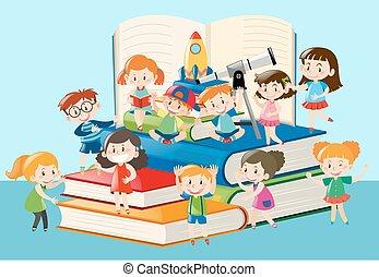 muchos, niños, libros, grande, sentado