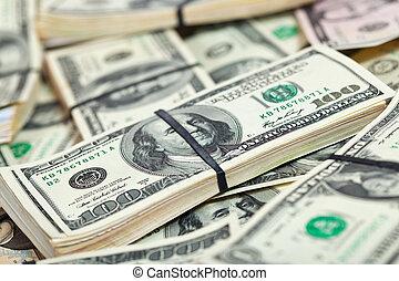muchos, nosotros dólares, billetes de banco