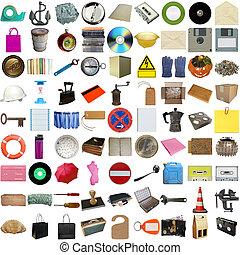muchos, objetos, aislado