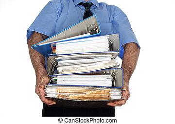 muchos, proceso de llevar, archivo, foldersschleppen