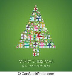 muchos, regalo, colorido, árbol de navidad