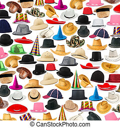 muchos, sombreros, arreglado, plano de fondo