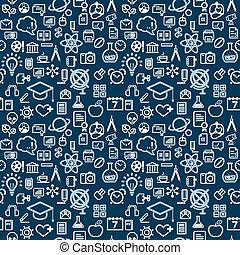 muchos, vector, educación, plano de fondo, iconos