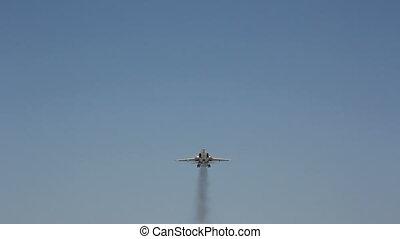 muchy, gagat, c, samolot, na górze, wojskowy