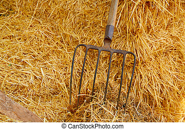 muck fork stable tool on straw bale barn