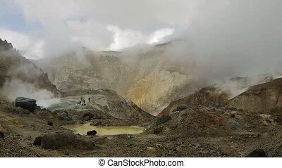 Mud bath in crater of Mutnovsky volcano.