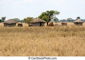 Mud Hut Village - Tarangire National Park. Tanzania, Africa...