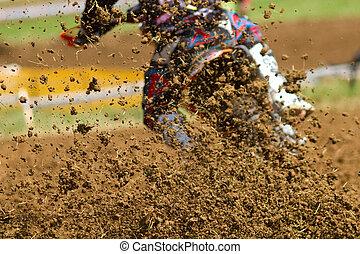 mud in a motocross race