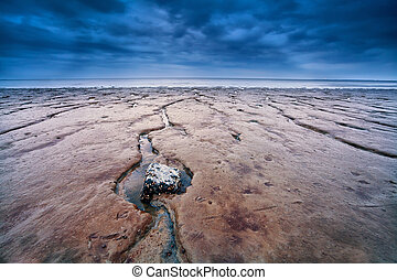 mud on North sea bottom at low tide