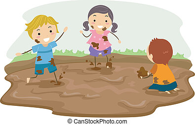 Mud Play - Stickman Illustration Featuring Kids Playing in...
