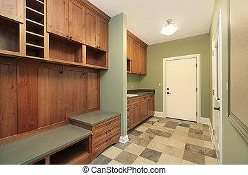 Mud room in luxury home