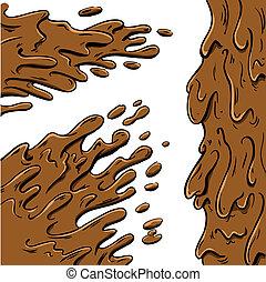 Mud splashes cartoon