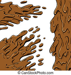 Mud splashes cartoon in vector format. Fully editable.
