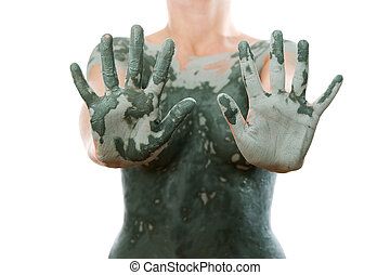 Mud treatment mask for body care.