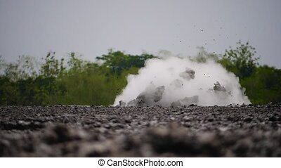 Mud volcano Bledug Kuwu, Indonesia - mud volcano with...