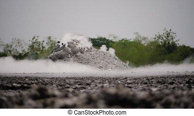 Mud volcano Bledug Kuwu, Indonesia - mud volcano with...
