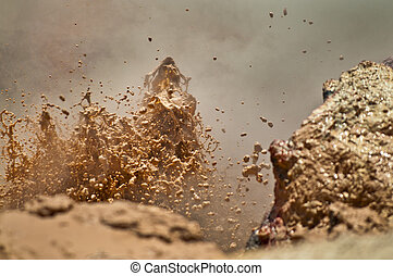 Mud Volcano - Close-up shot of a erupting mud volcano in...