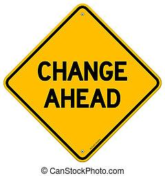 Mudança, à frente, amarela, sinal