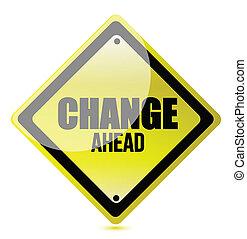 mudança, à frente, estrada, ilustração, sinal