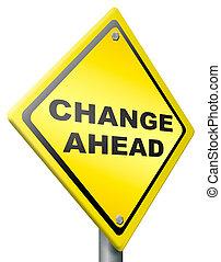 mudança, à frente, mudança, e, melhoria, melhor