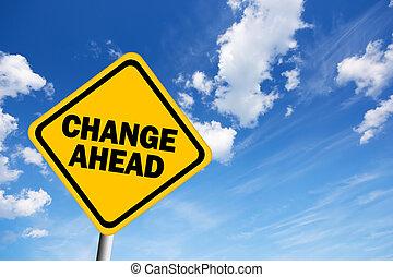 mudança, à frente, sinal aviso
