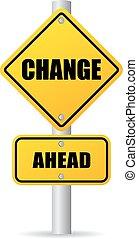 mudança, à frente, sinal estrada