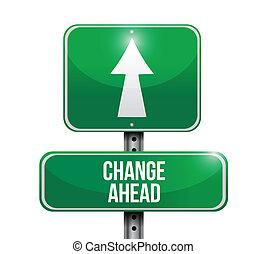 mudança, à frente, sinal estrada, ilustração