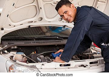 mudança, óleo, car