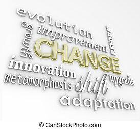 mudança, 3d, palavras, evoluir, melhorar, crescer, para, sucesso