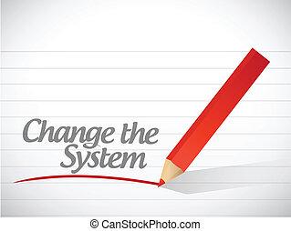 mudança, a, sistema, escrito, mensagem, ilustração