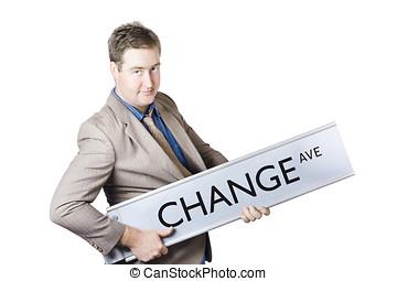 mudança, ave., negócio, melhoria, e, evolução