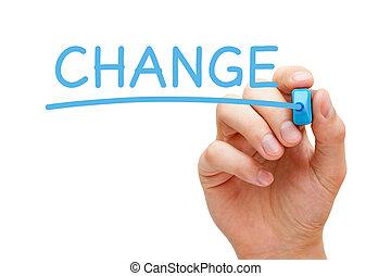 mudança, azul, marcador