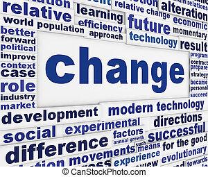 mudança, experiência conceitual